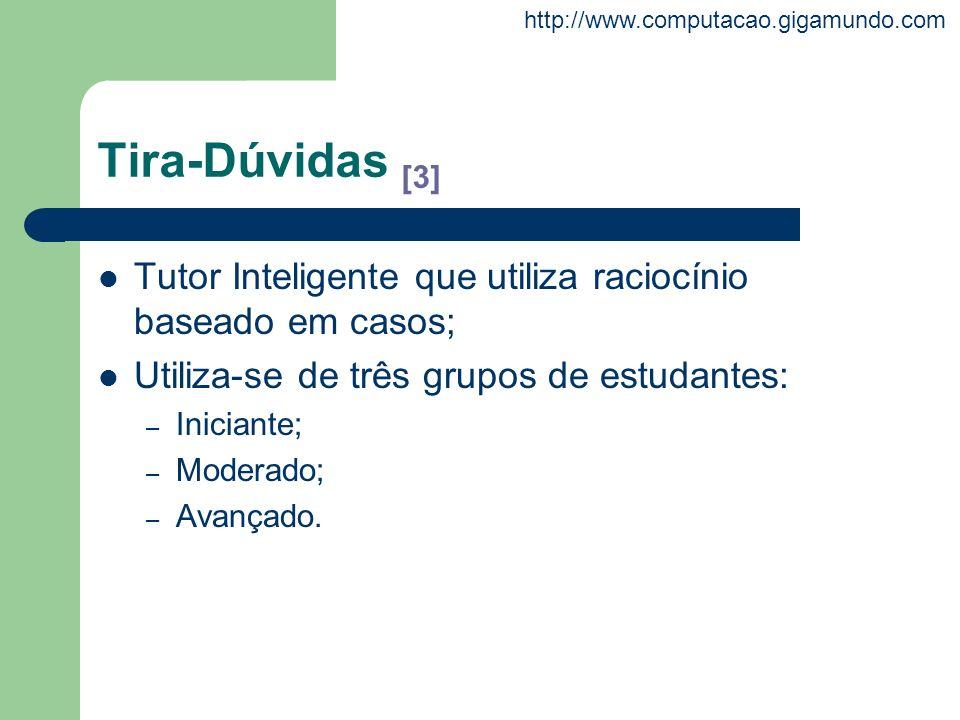 Tira-Dúvidas [3]Tutor Inteligente que utiliza raciocínio baseado em casos; Utiliza-se de três grupos de estudantes: